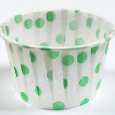 Форма бумажная для выпечки д 50 в 40 белая в зеленый горох