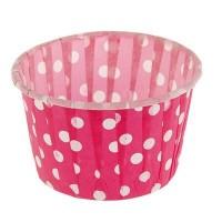 Форма бумажная для выпечки д 50 в 40 розовая в горох