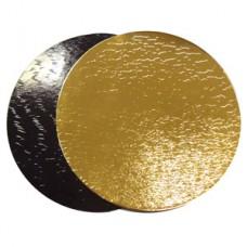 Подложка картон.круг. диаметр 26 золото/черная