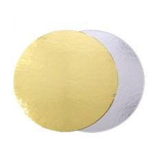 Подложка картон.круг. диаметр 20 золото/серебро