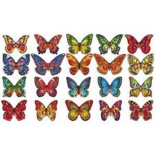 Вафельные бабочки цветные с рисунком 130шт,микс
