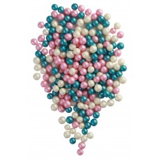 Жемчуг бирюза, розовый, серебро микс, 100 гр