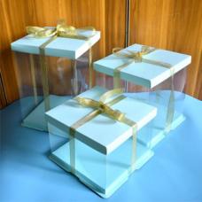Коробка для торта 24*24*24 Голубая