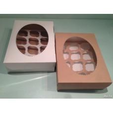 Коробка для 12 капкейков с окном белая/крафт
