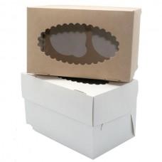 Коробка для 2 капкейков с окном белая/крафт