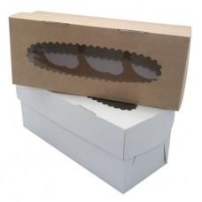 Коробка для 3 капкейков с окном белая/крафт