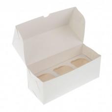 Коробка для 3 капкейков белая