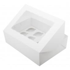 Коробка для 12 капкейков с окном белая