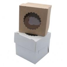 Коробка для 1 капкейка с окном белая/крафт