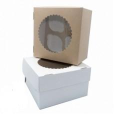 Коробка для 4 капкейков с окном белая/крафт