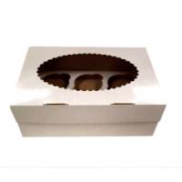 Коробка для 6 капкейков с окном белая/крафт