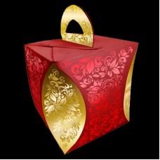 Коробка для кулича d124мм  h 160 мм УЗОР ХОХЛОМЫ красный