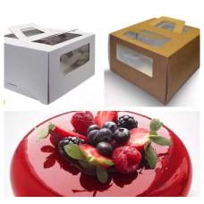 Коробка для торта 18*18*15 с ручками и окном белая