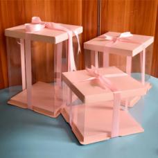 Коробка для торта 24*24*24 Розовая