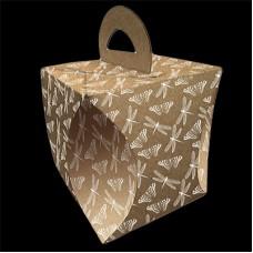 Коробка для кулича d124мм h 160 мм СТРЕКОЗЫ И БАБОЧКИ